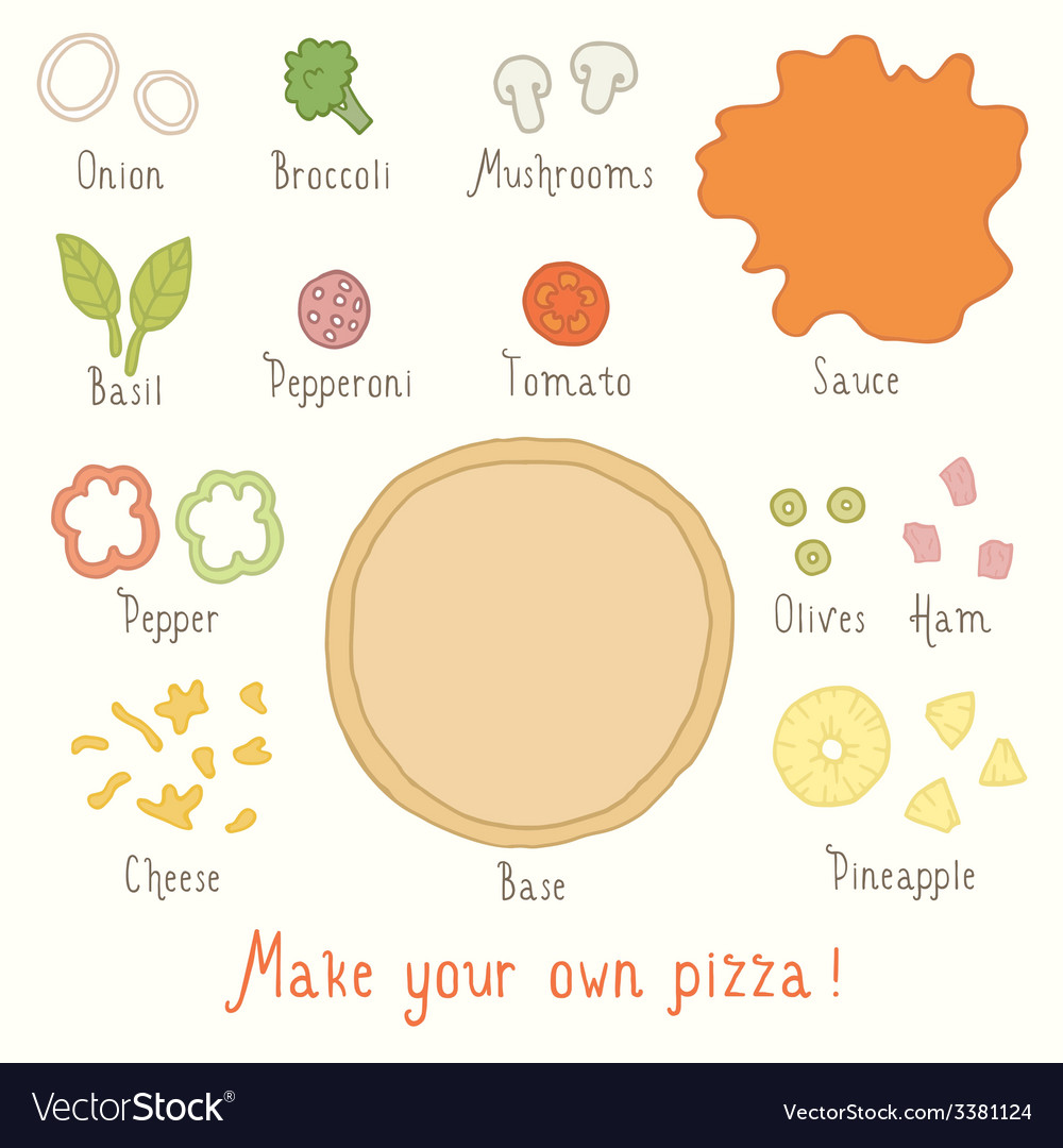 Make you own pizza set vector