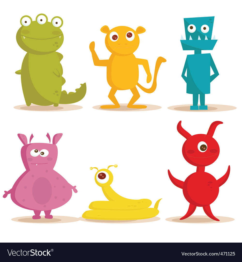 Monsters cartoons vector