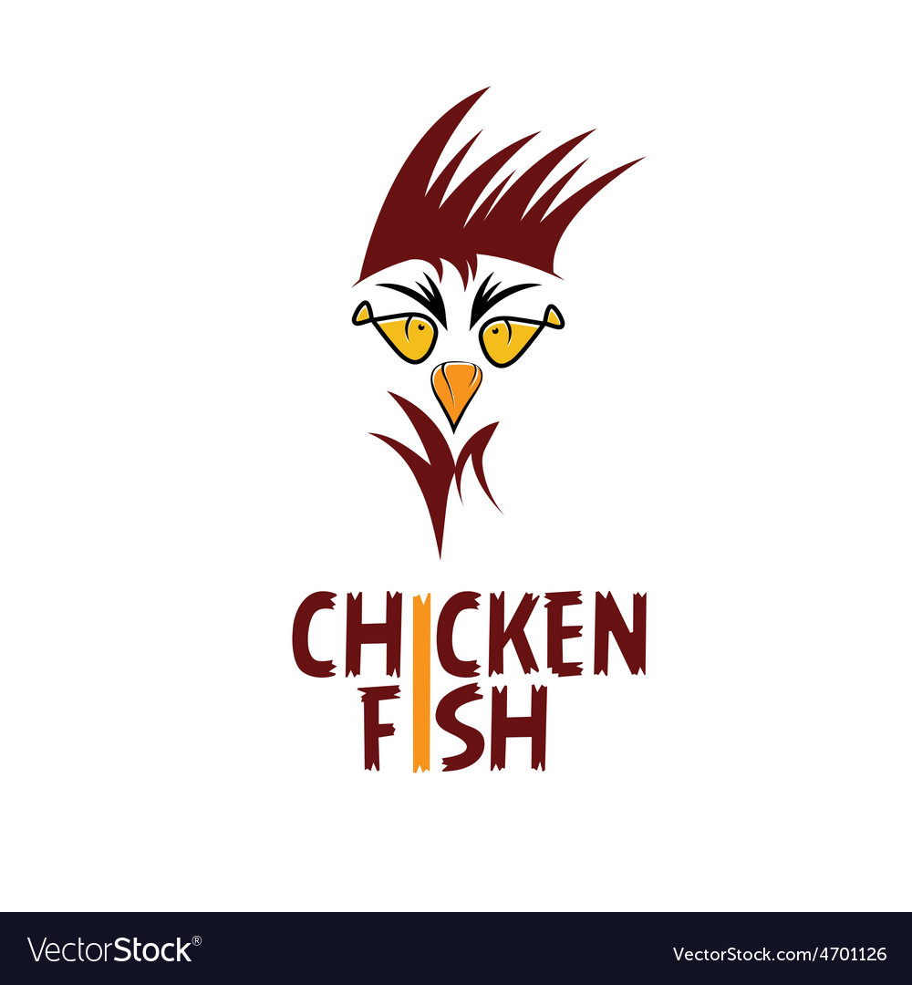 Chicken with fish eyes concept fast food vector