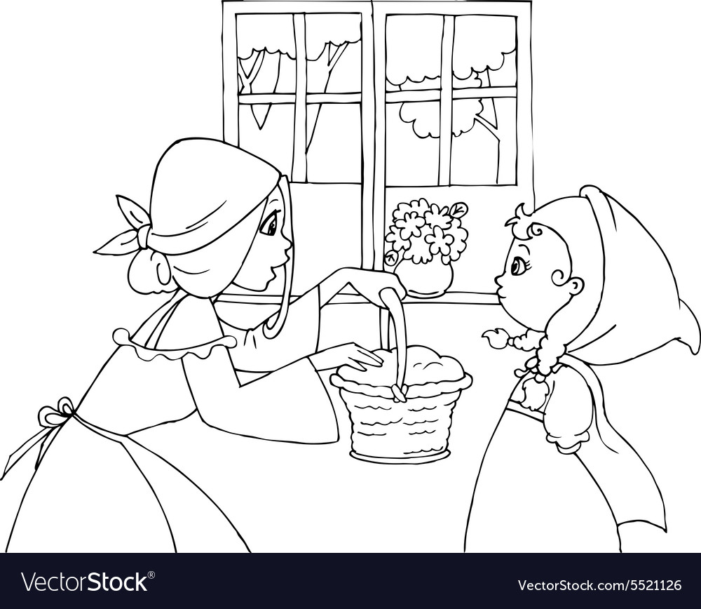 Coloring red riding hood and mom vector
