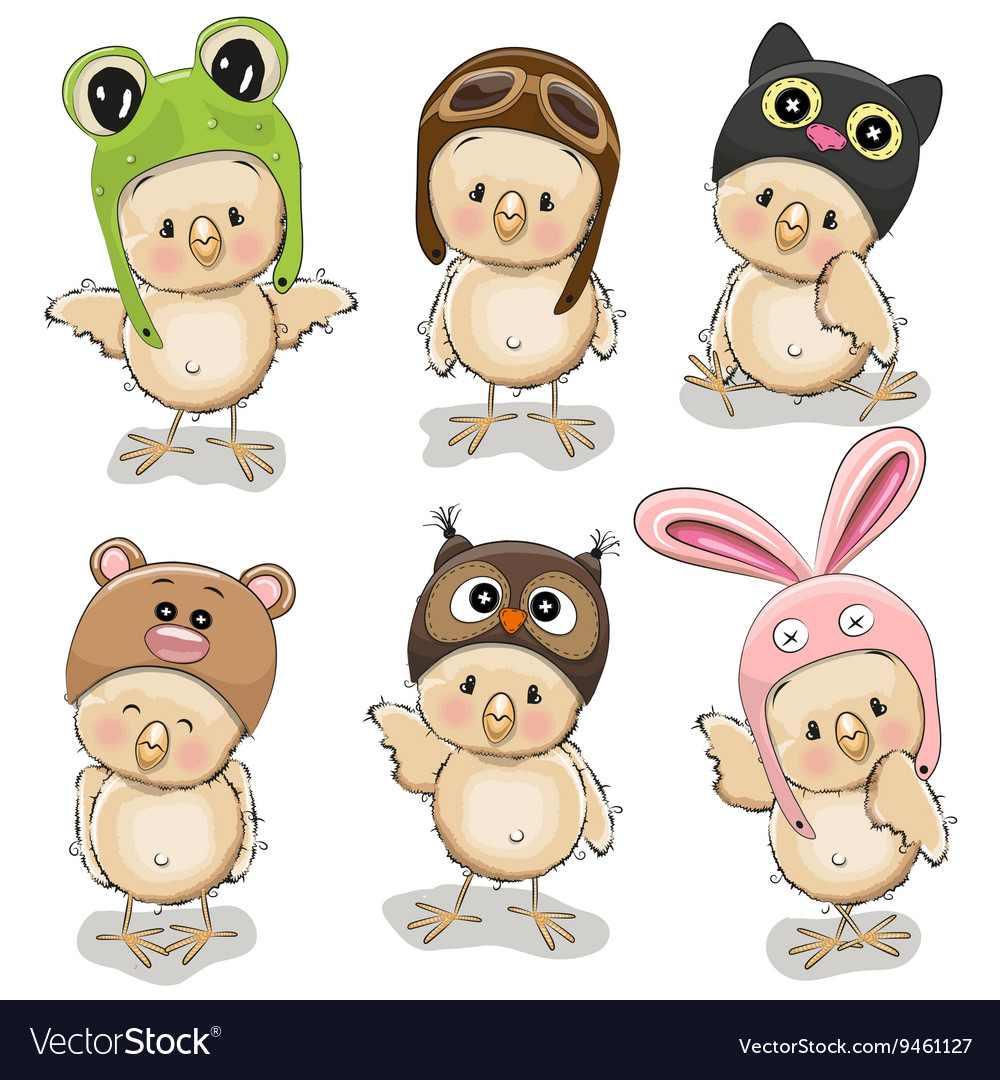 Six cute chicks vector