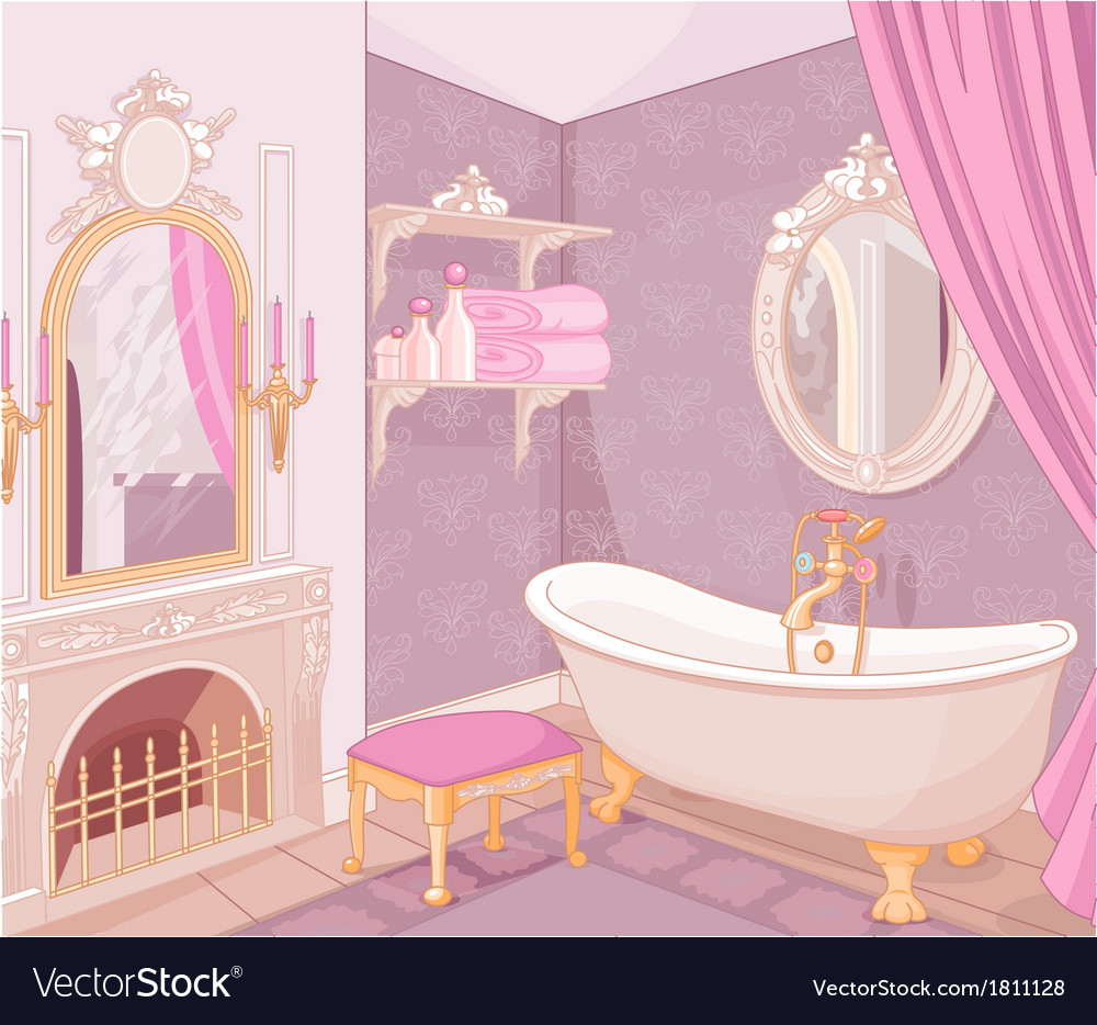 Interior of bathroom in the palace vector