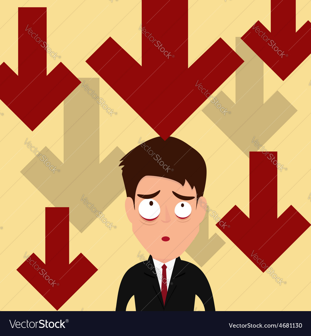 Business failure down trend graph make worried vector