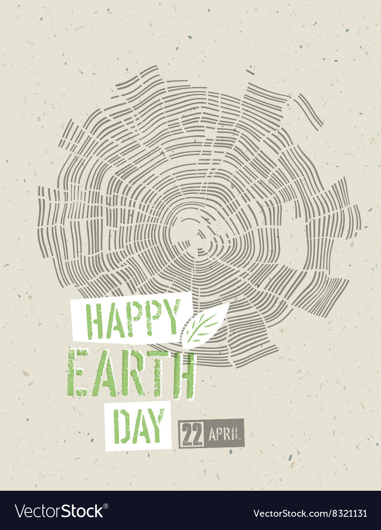 Happy earth day poster tree rings symbolic on the vector