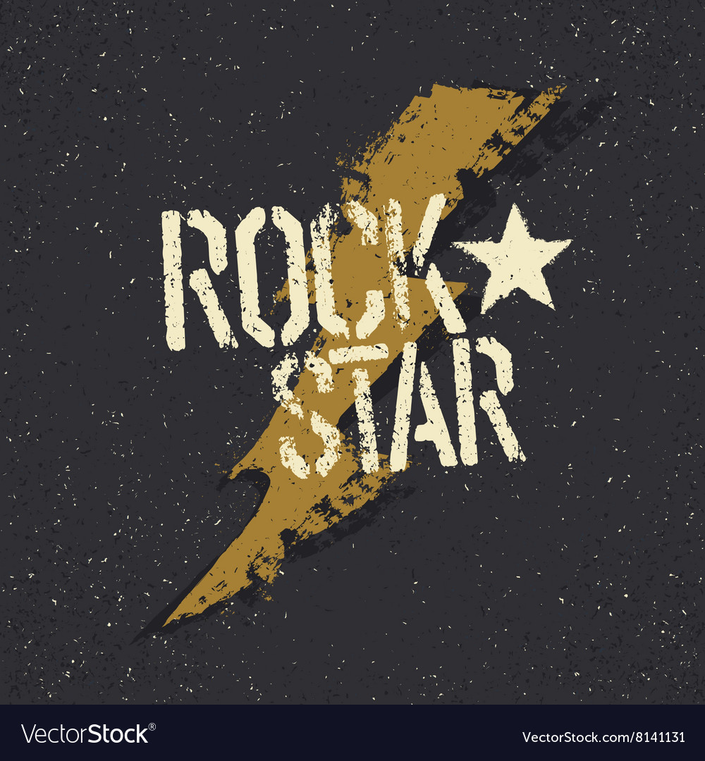 Rockstar grunge star with lettering tee print vector