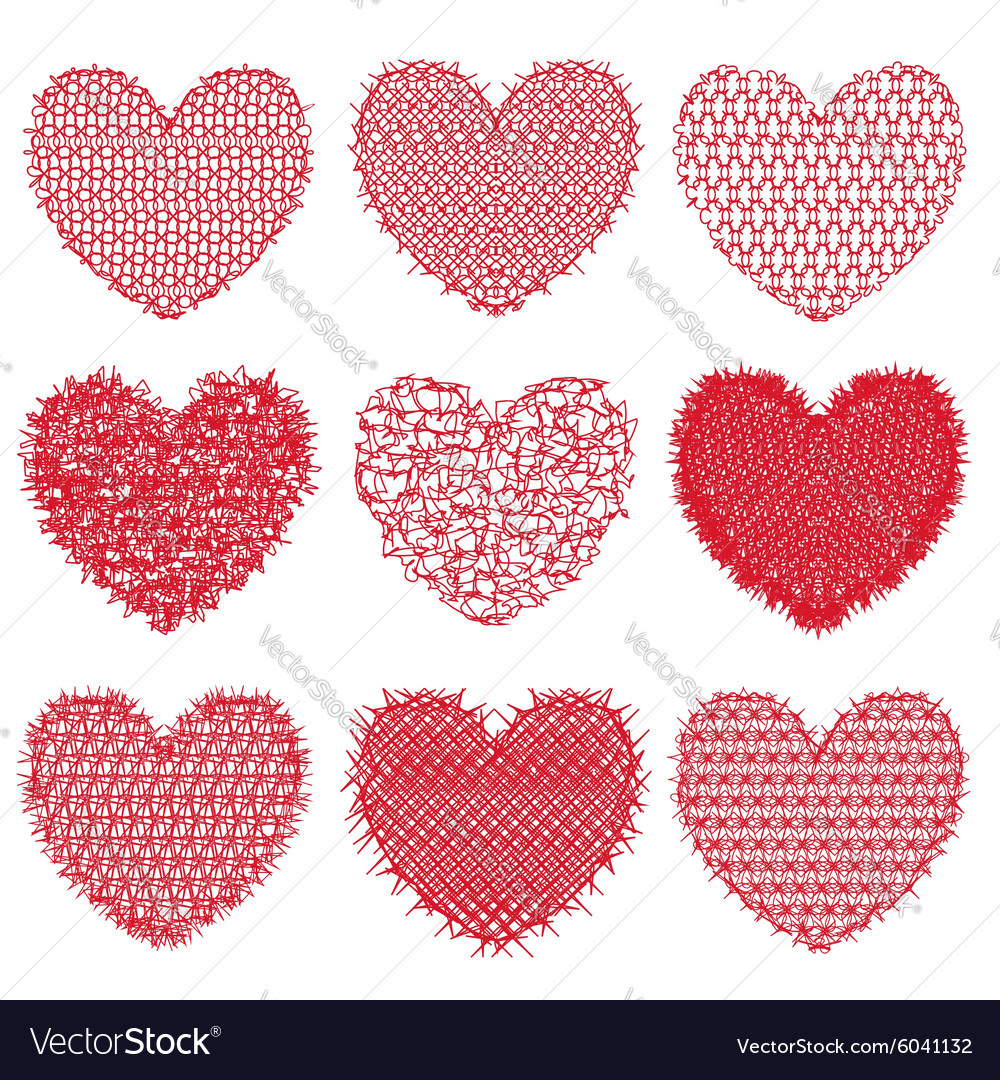 Set of red hearts for design and decoration on a vector