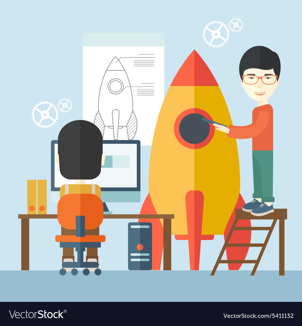 Two asian men for start up business vector