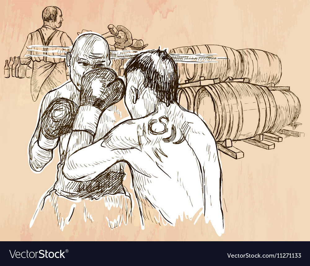 Box boxing match  an hand drawn line art vector