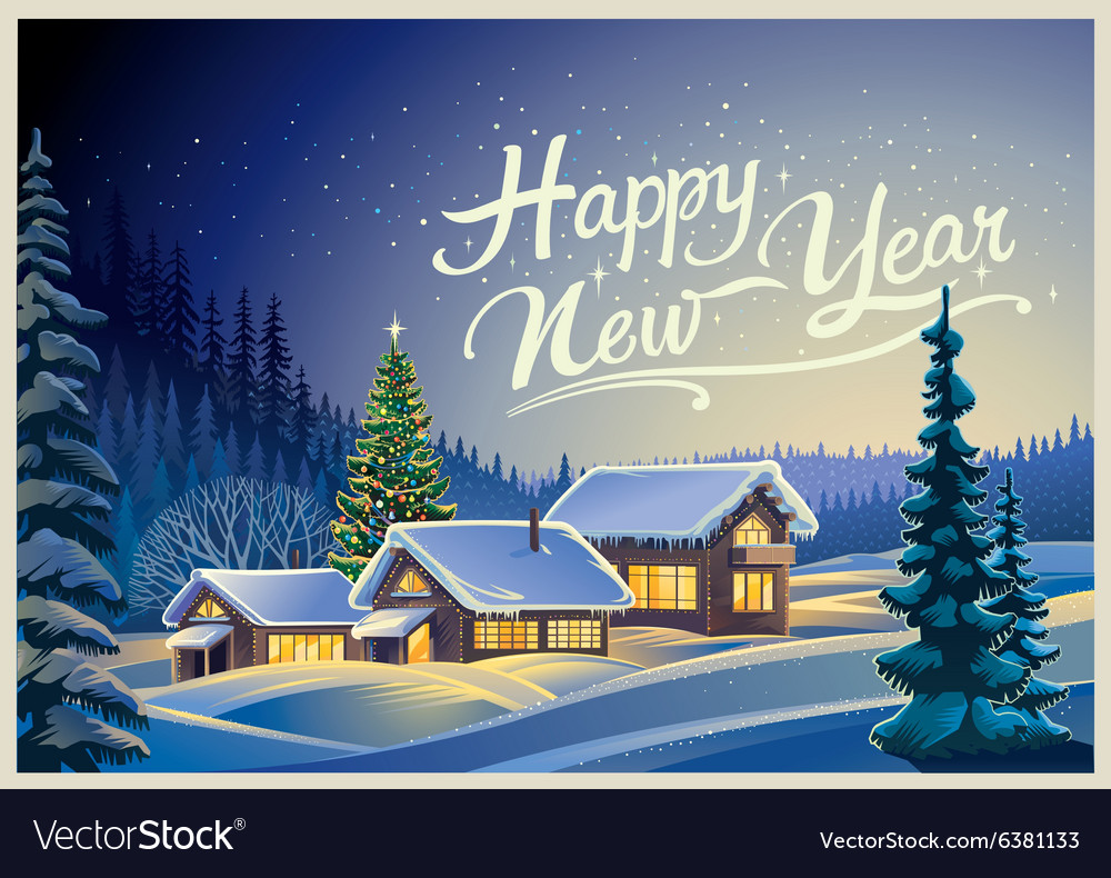 Christmas winter landscape design vector