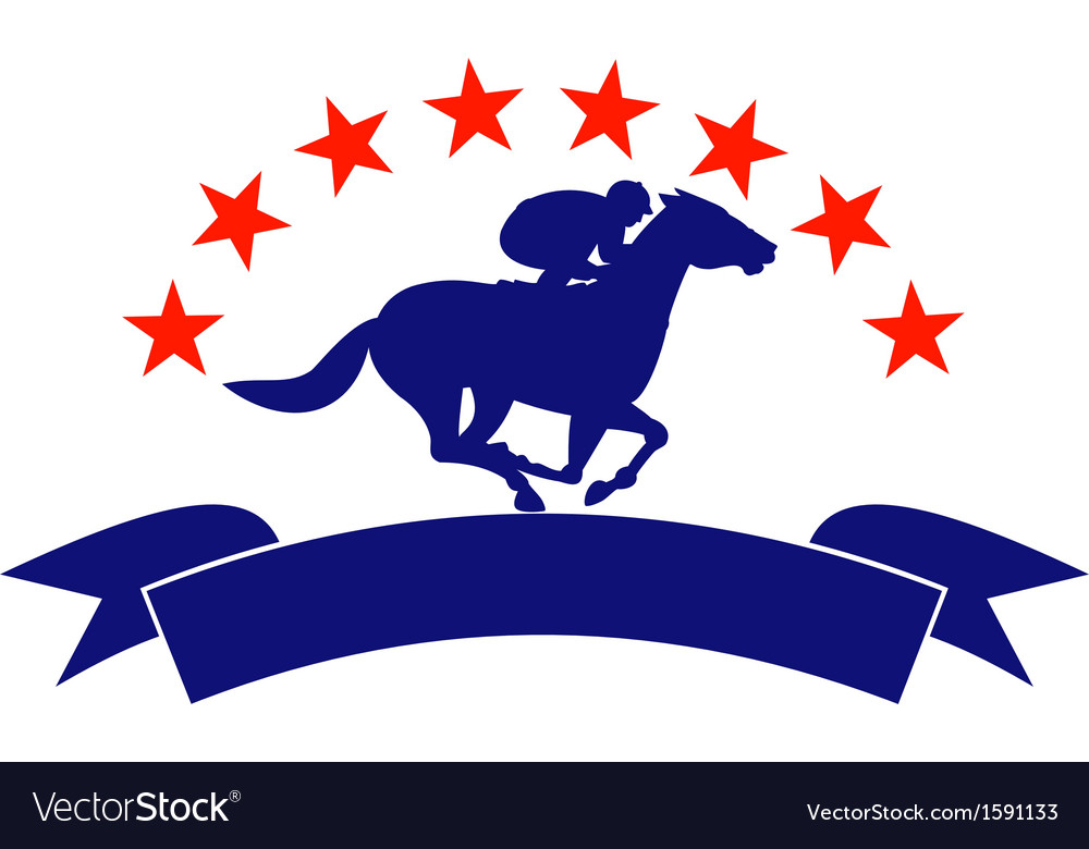 Horse and jockey racing silhouette stars vector