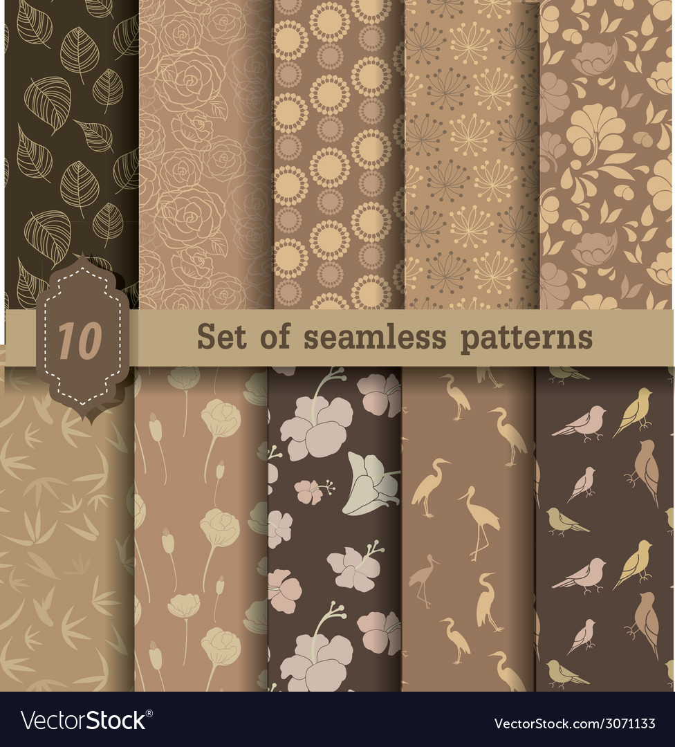 Nature style seamless patterns vector