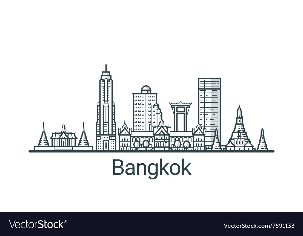 Outline bangkok banner vector