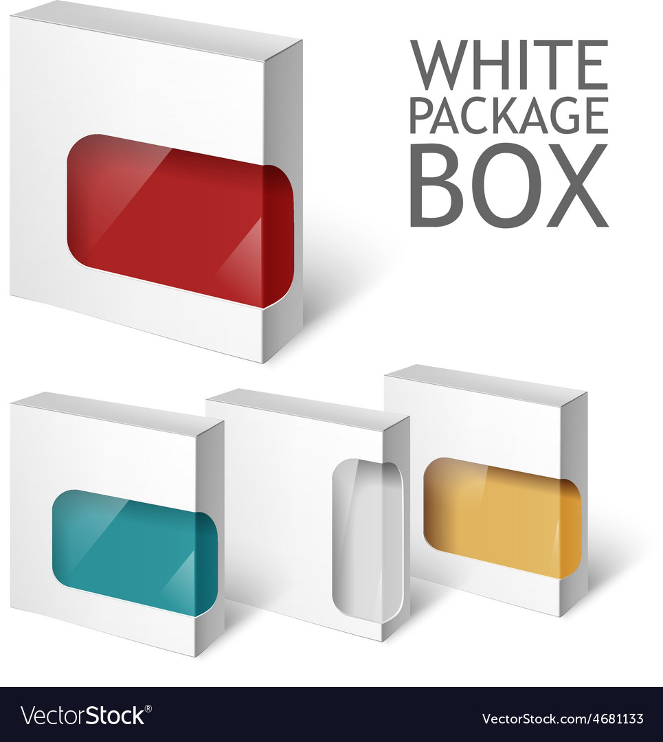 Set of white package box mockup template vector