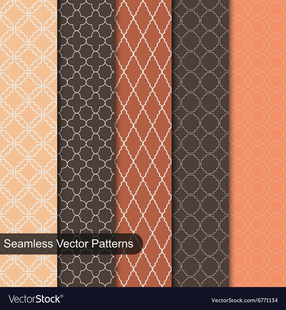 Seamless patterns ornamental set vector