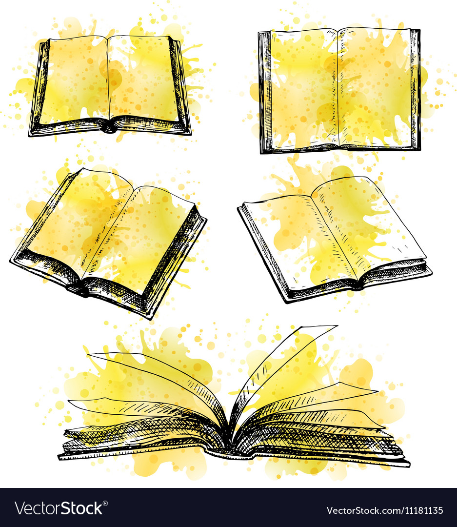 Hand drawn set of books vector