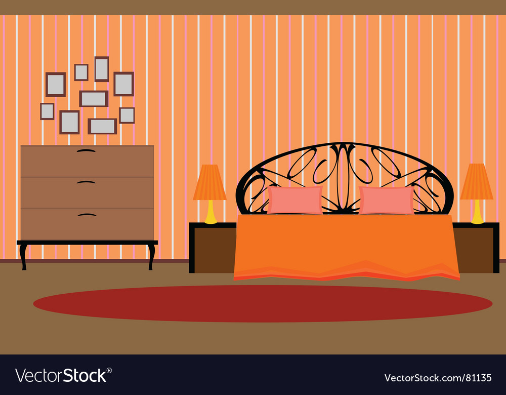 Interior bedroom vector