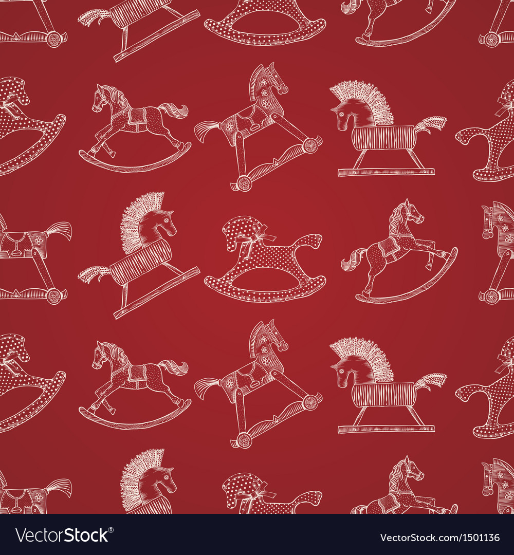 Christmas seamless pattern with rocking horses vector