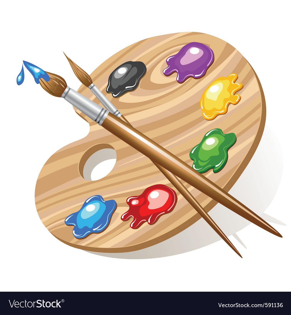 Wooden art palette vector