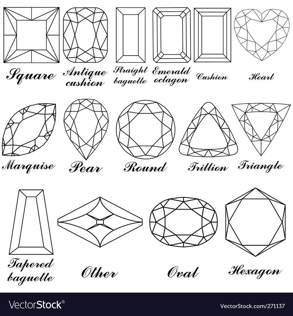 Gemstone shapes vector