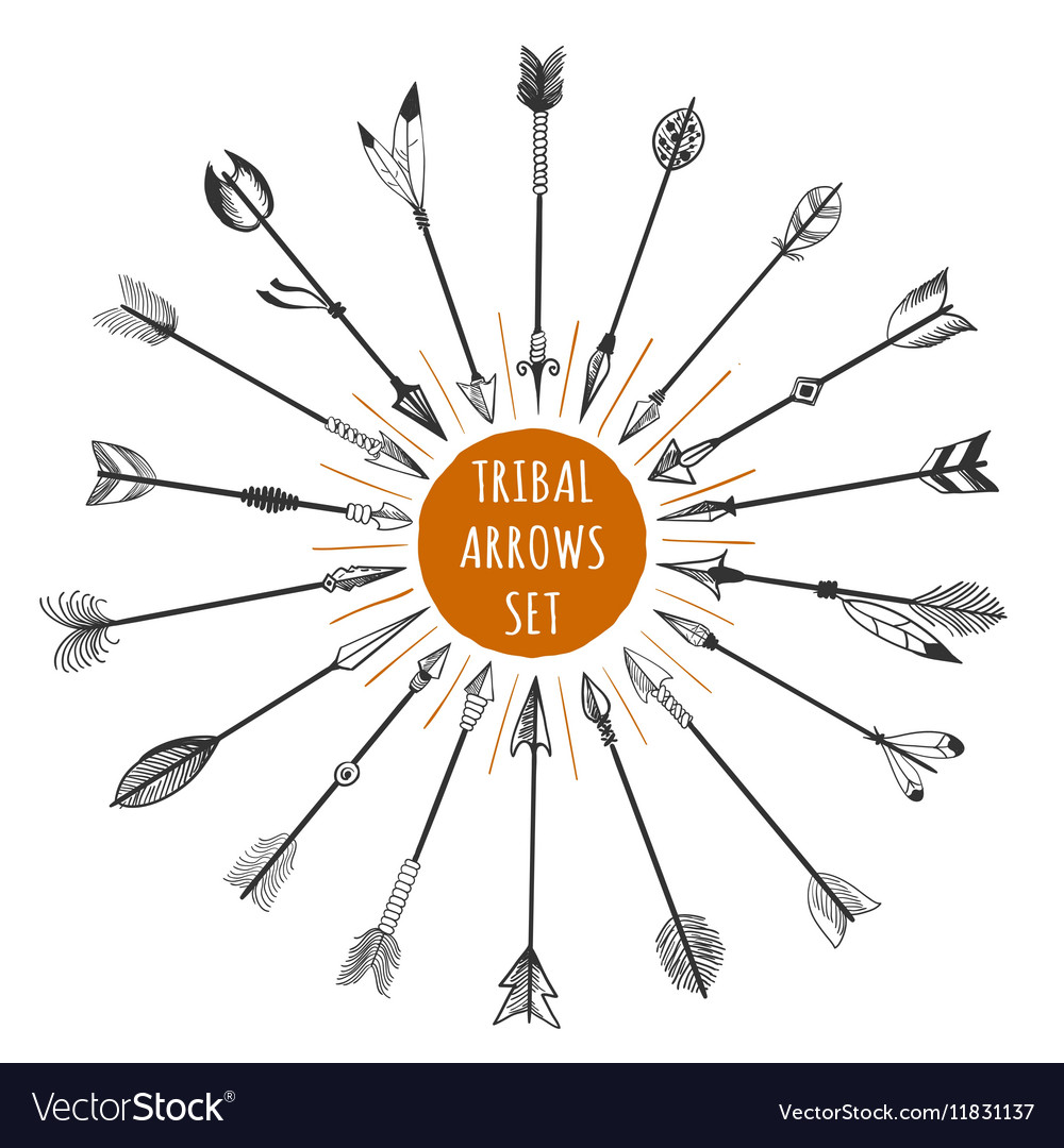 Hand drawn tribal arrows set vector
