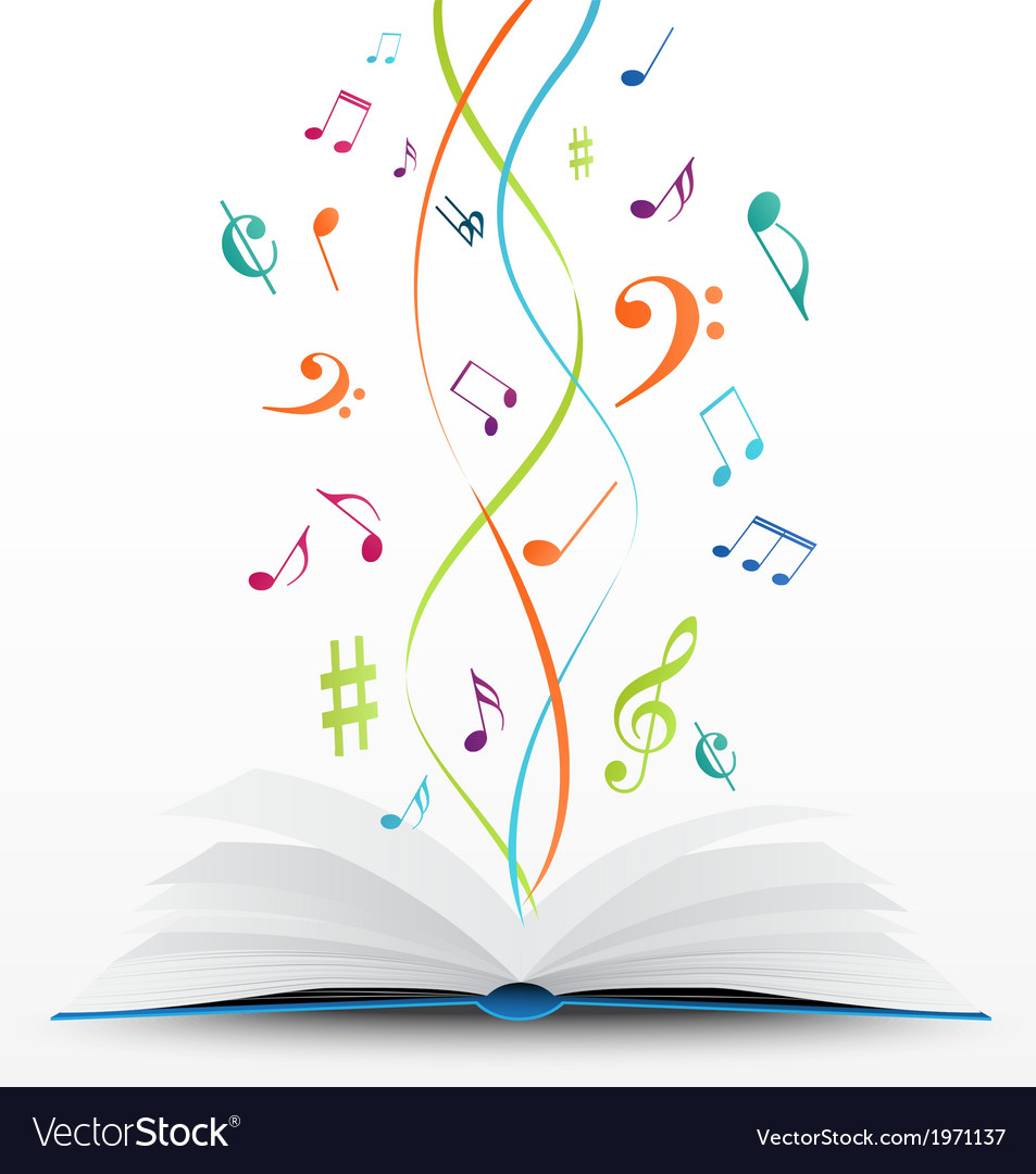 Music notes on open book background vector
