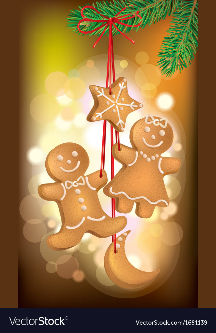 Christmas cookies on the christmas tree vector