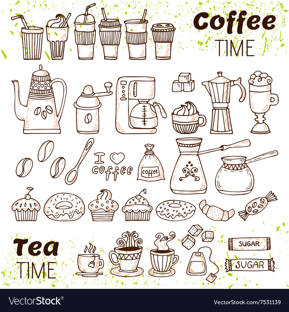 Hand draw coffee and tea collection sketch doodles vector