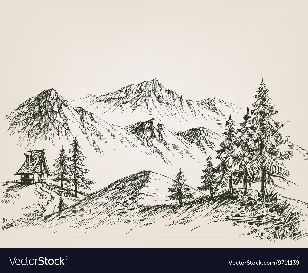 Nature drawing a hut in the mountains vector