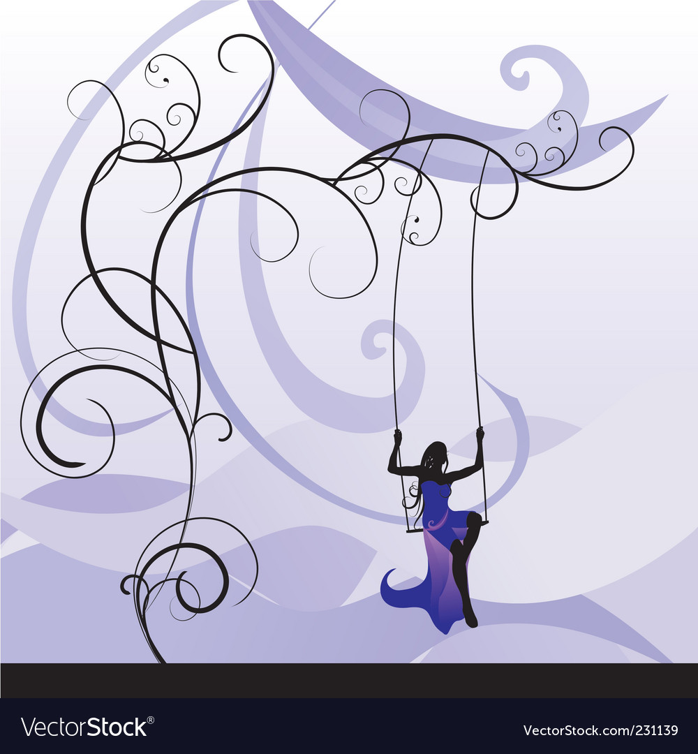 Violet girl on swing vector