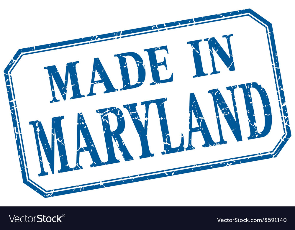 Maryland  made in blue vintage isolated label vector