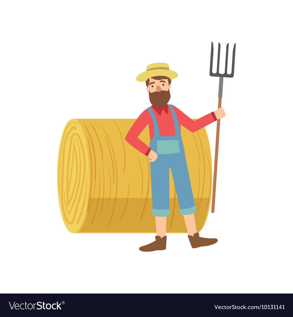 Farmer with the beard hay stack roll vector