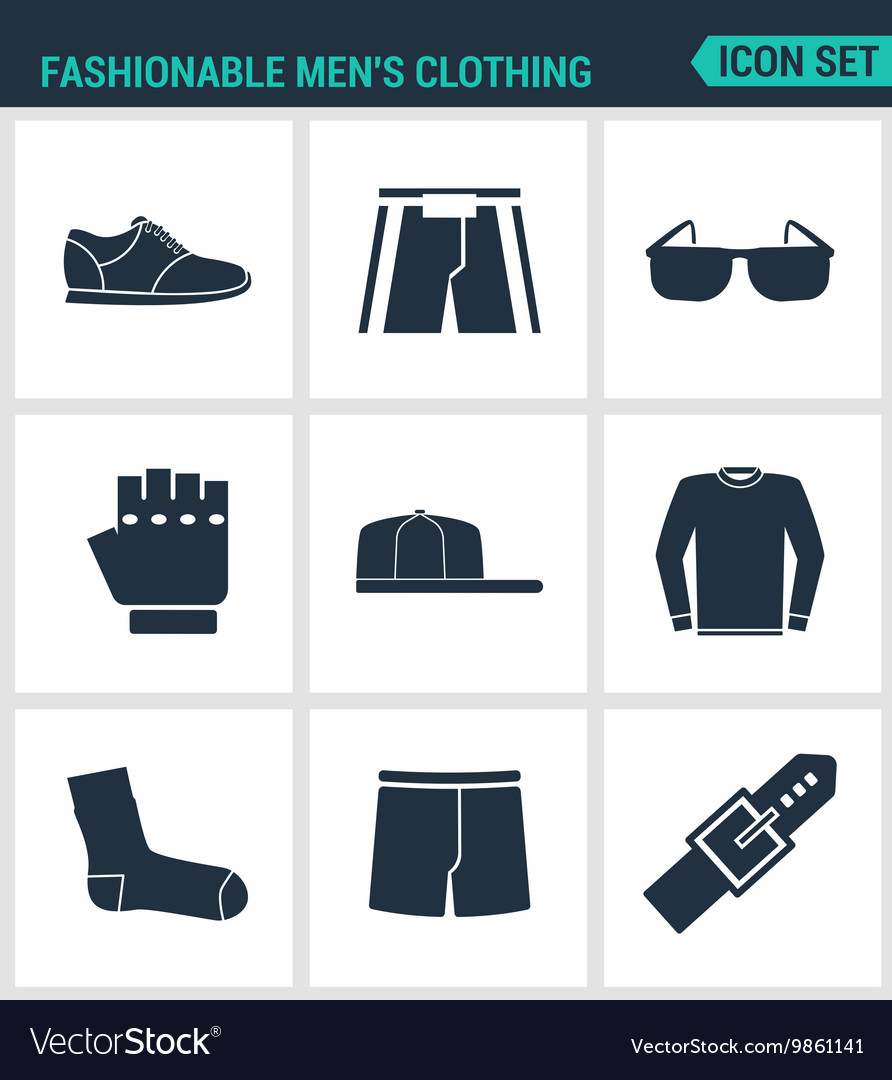 Set of modern icons fashionable men s vector