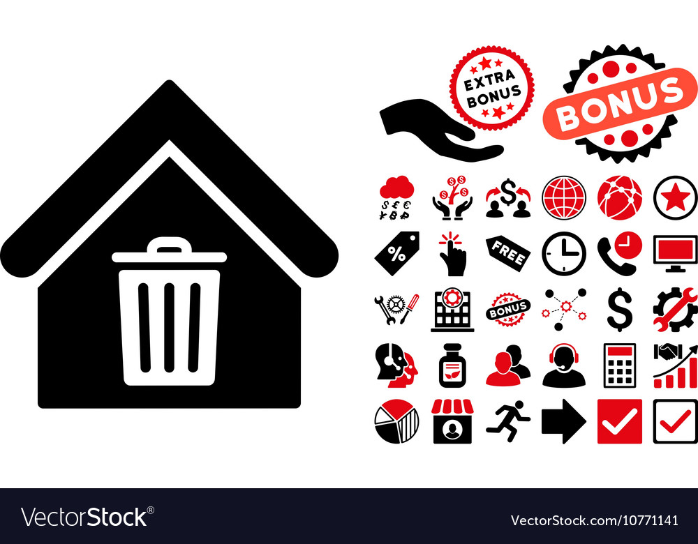 Trash house flat icon with bonus vector