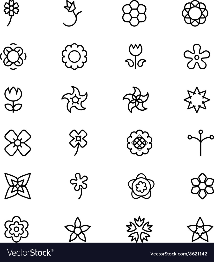 Flowers and floral line icons 4 vector