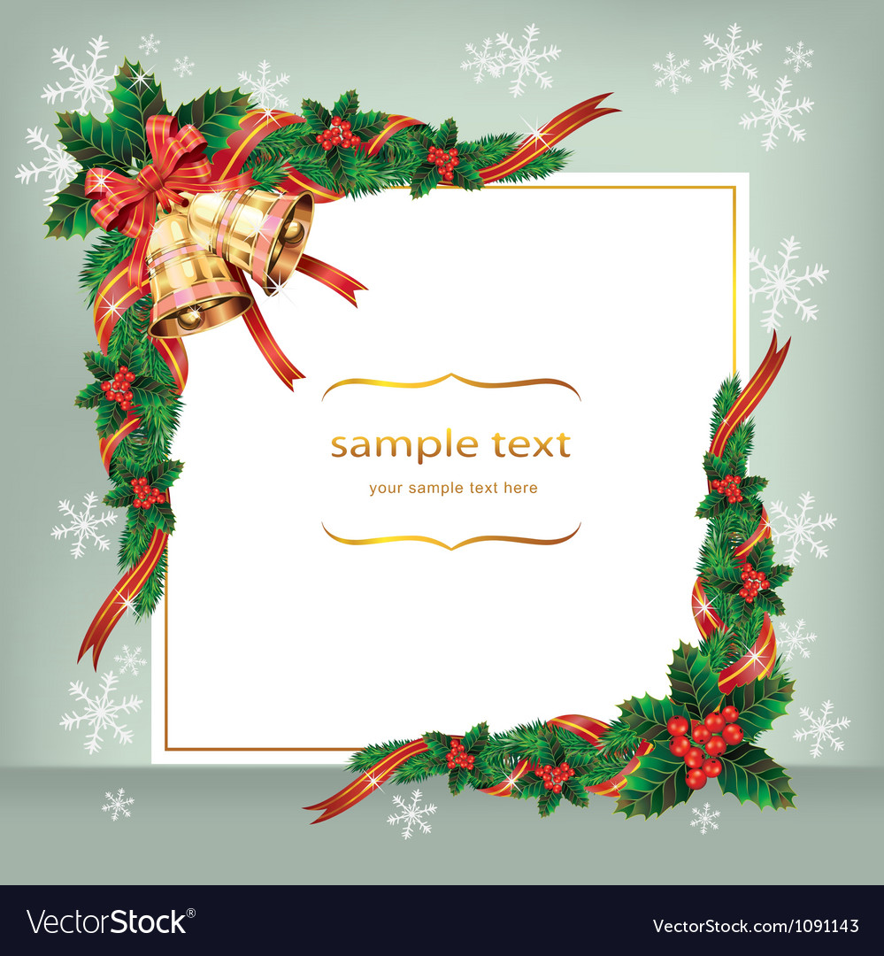 Christmas card with bells and berry vector