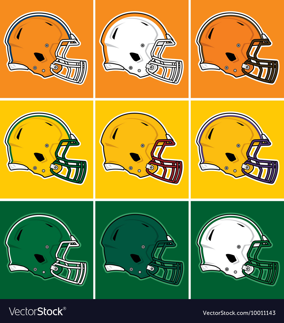Colored football helmets in orange yellow green vector