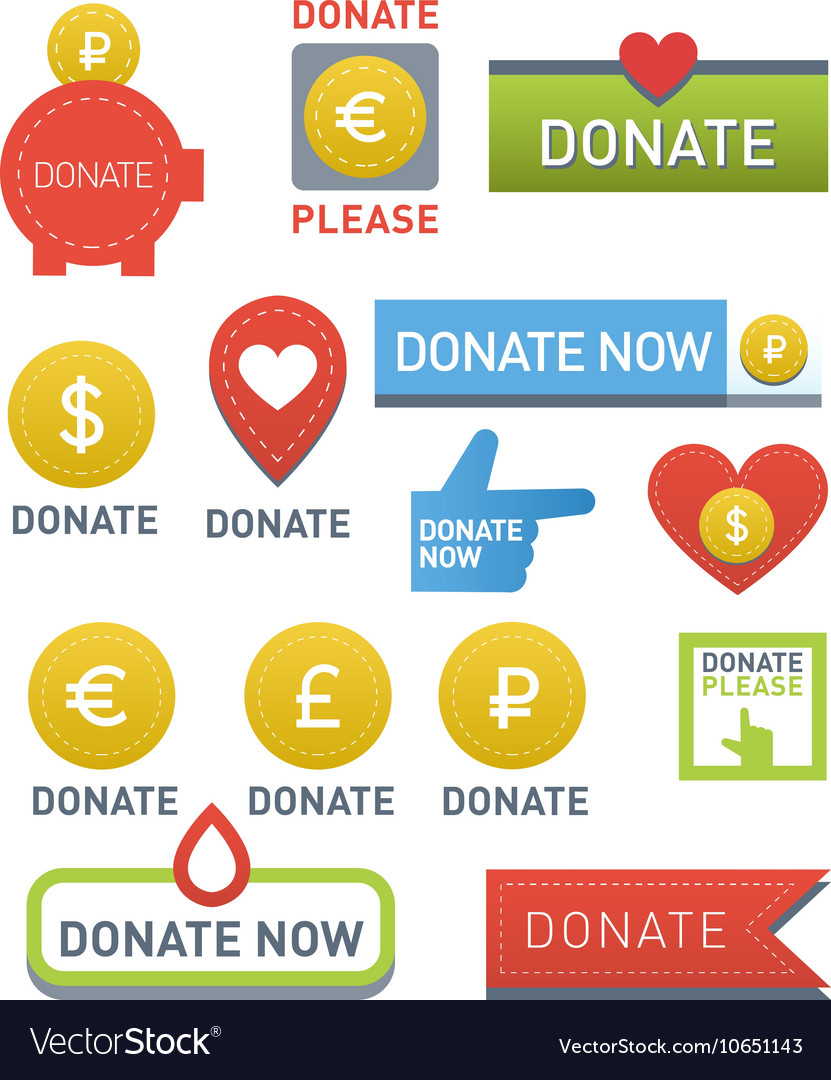 Donate buttons set vector
