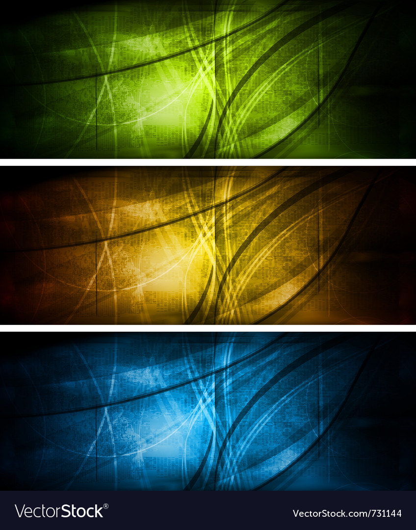 Bright textural banners collection vector