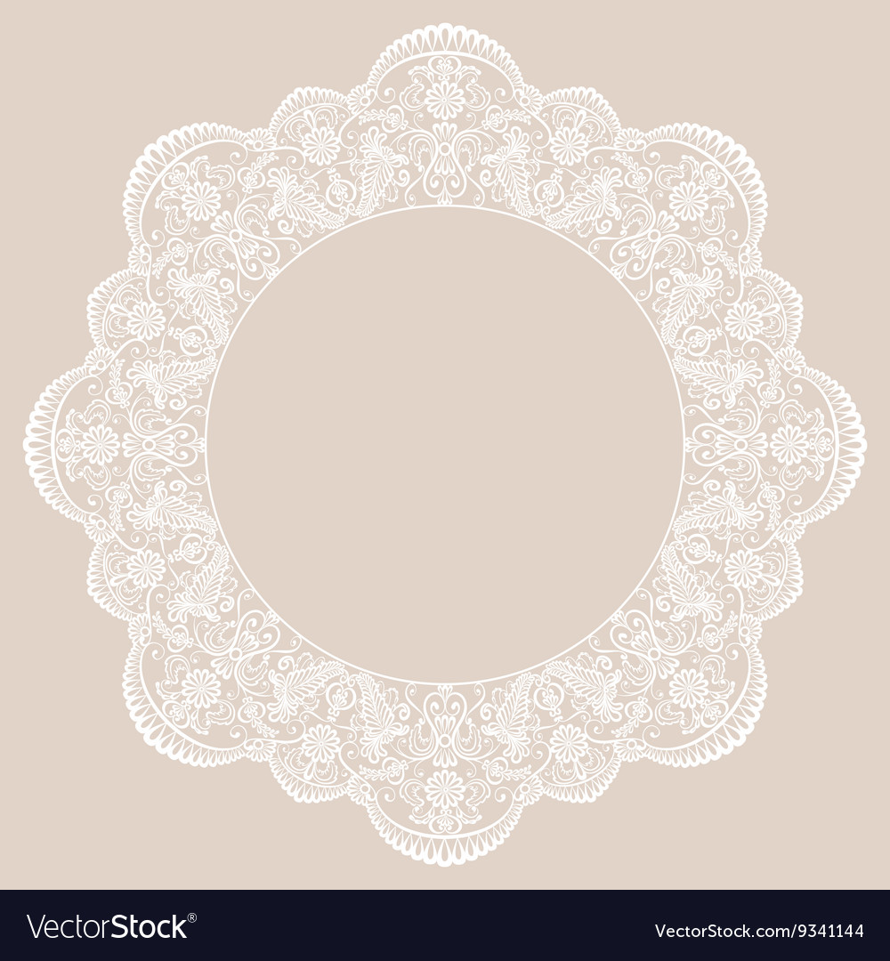 Round lace frame vector