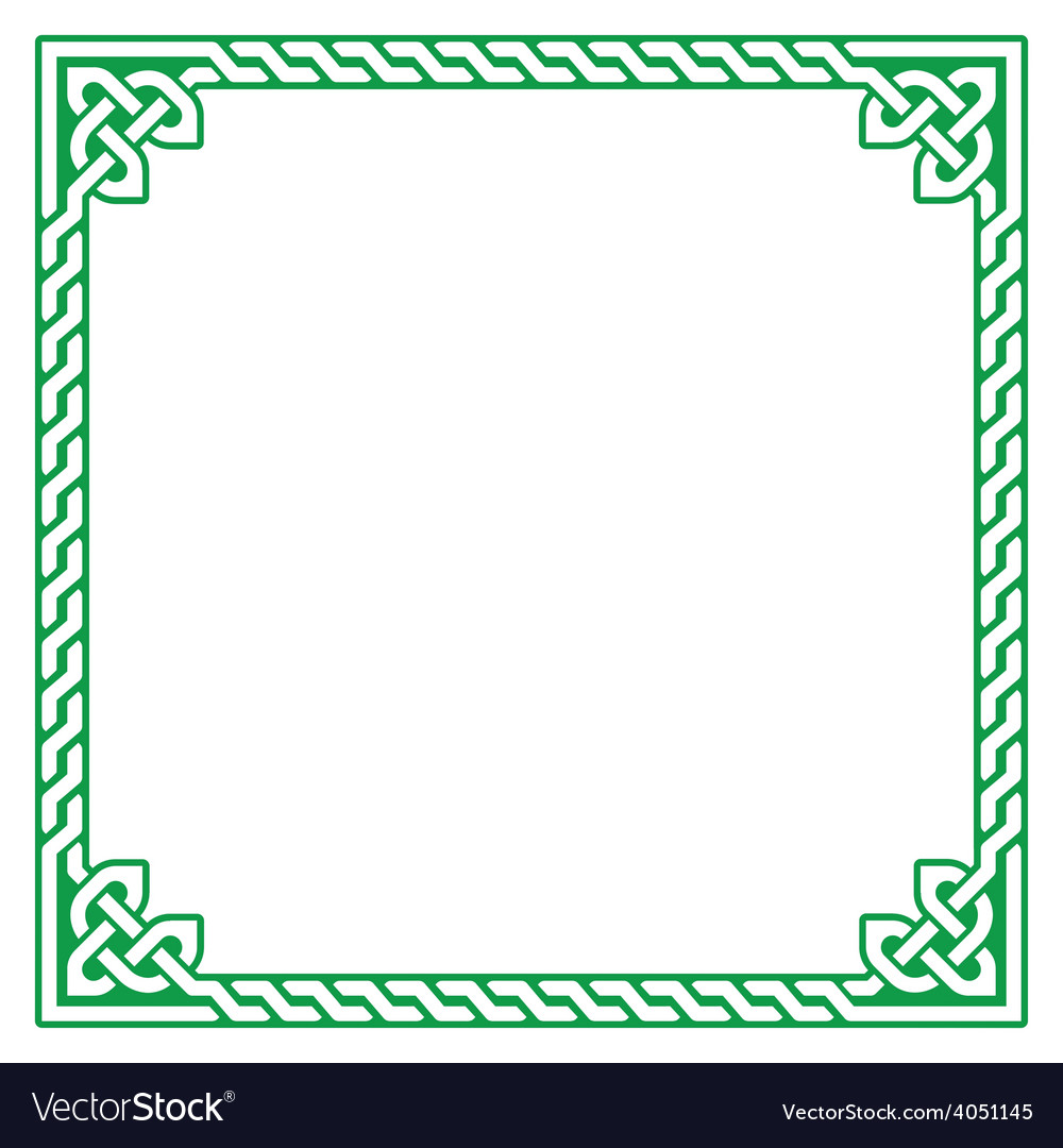 Celtic green frame border pattern  vector