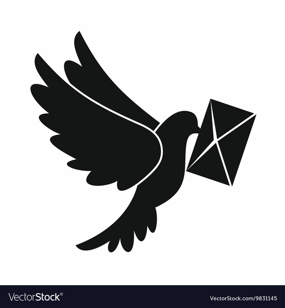 Dove carrying envelope icon simple style vector