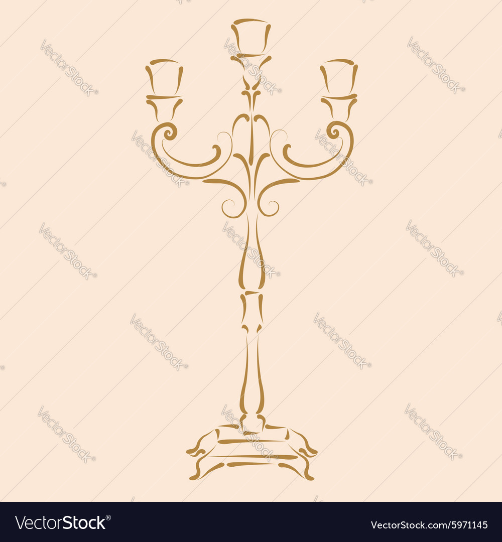 Sketched candle holder vector