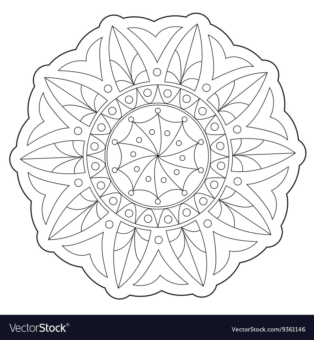 Coloring geometric round ornament vector