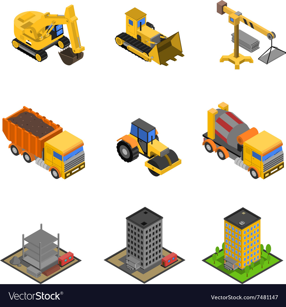 Construction isometric icons set vector