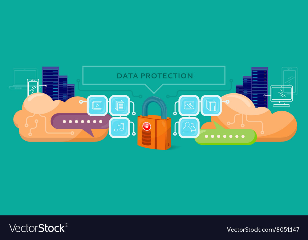 Data protection design flat concept vector