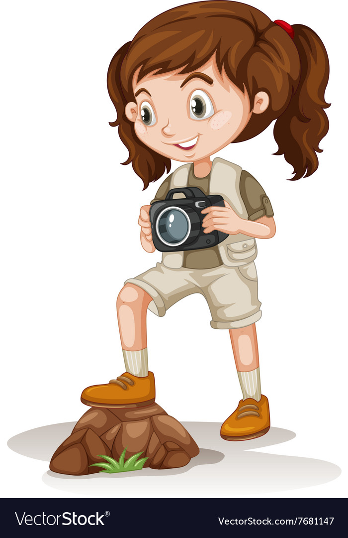 Little girl holding a camera vector