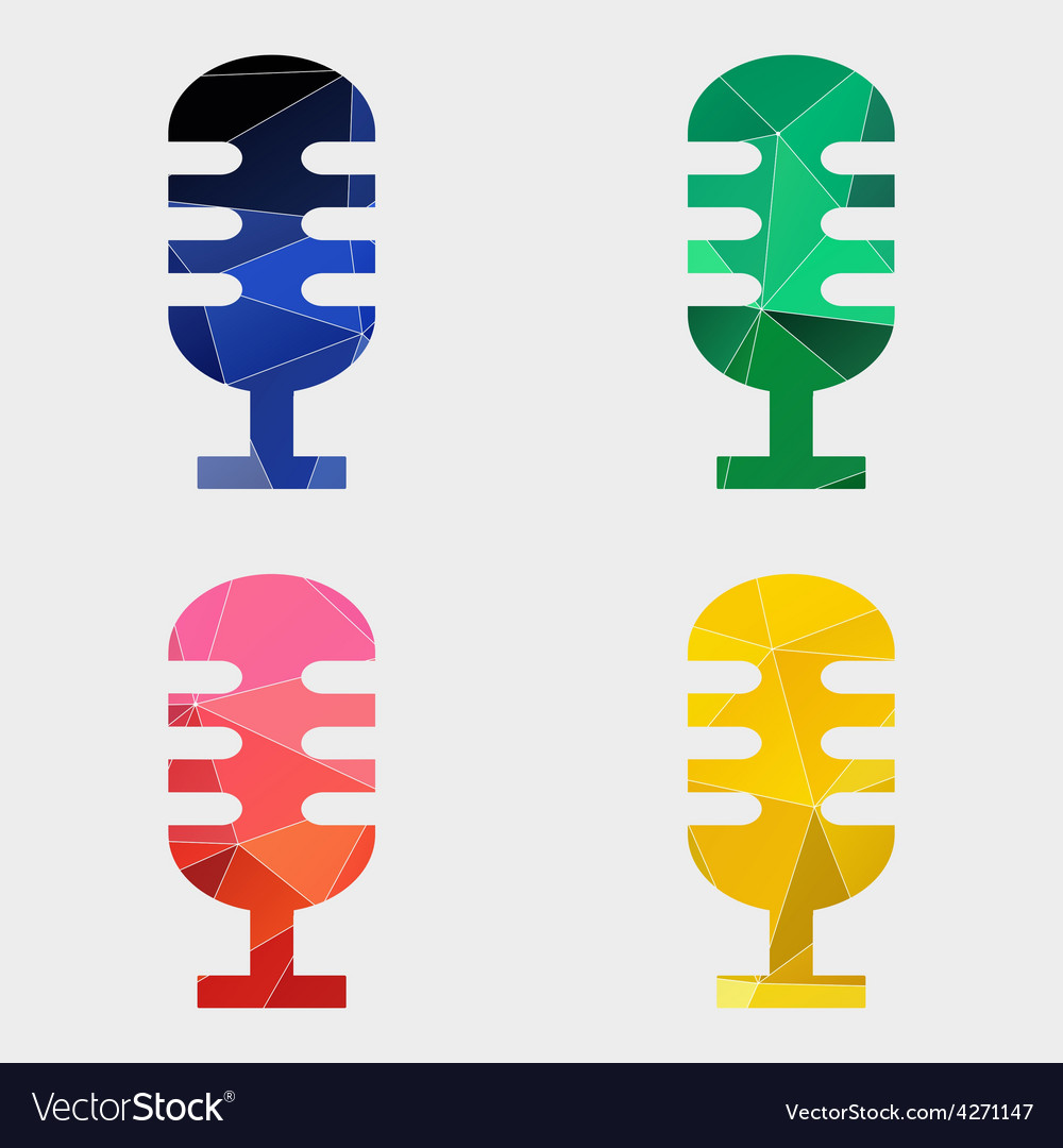 Microphone icon abstract triangle vector