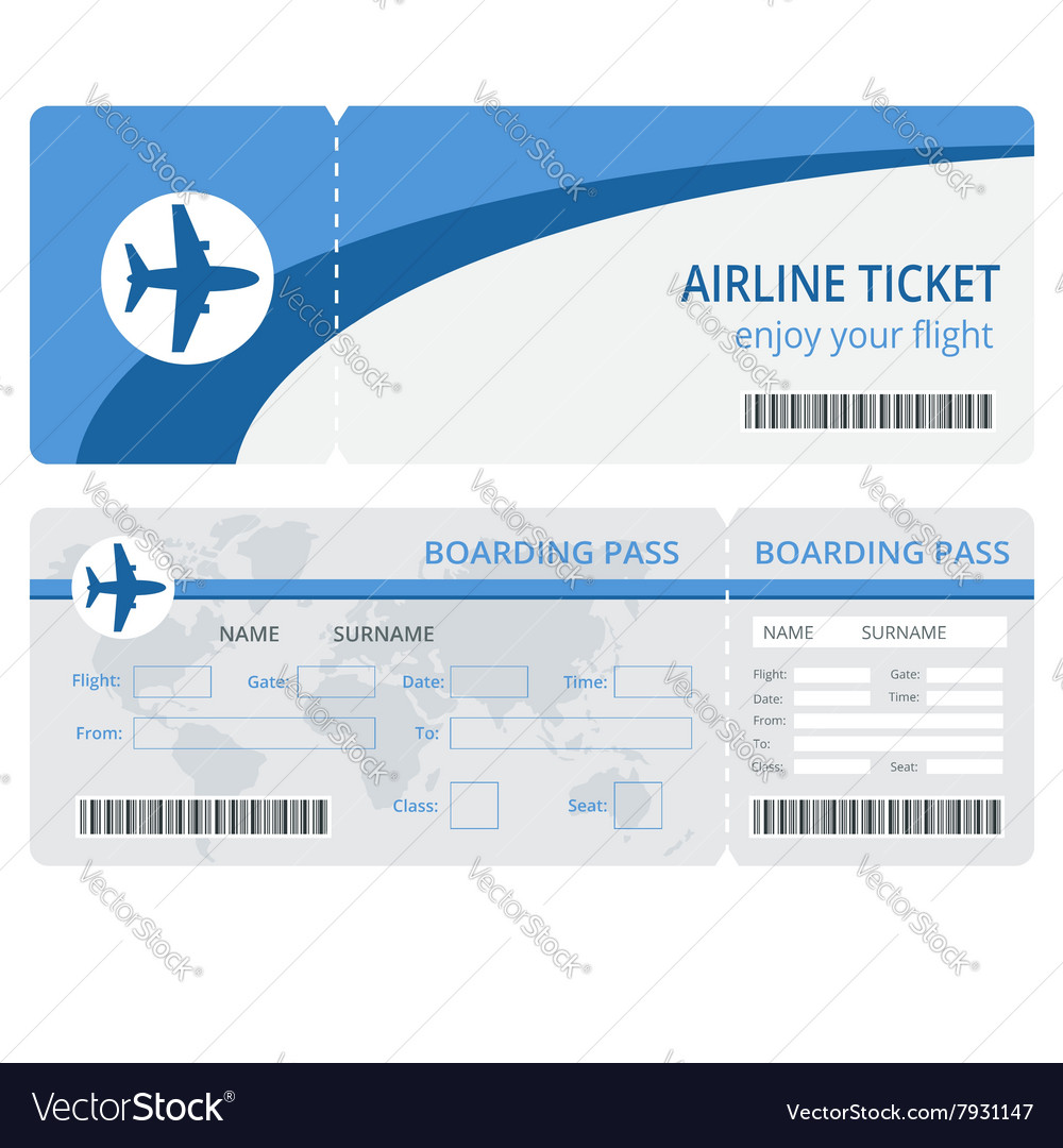 Plane ticket design plane ticket blank vector