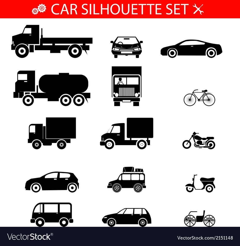 Car silhouette icons vehicles and transport set vector