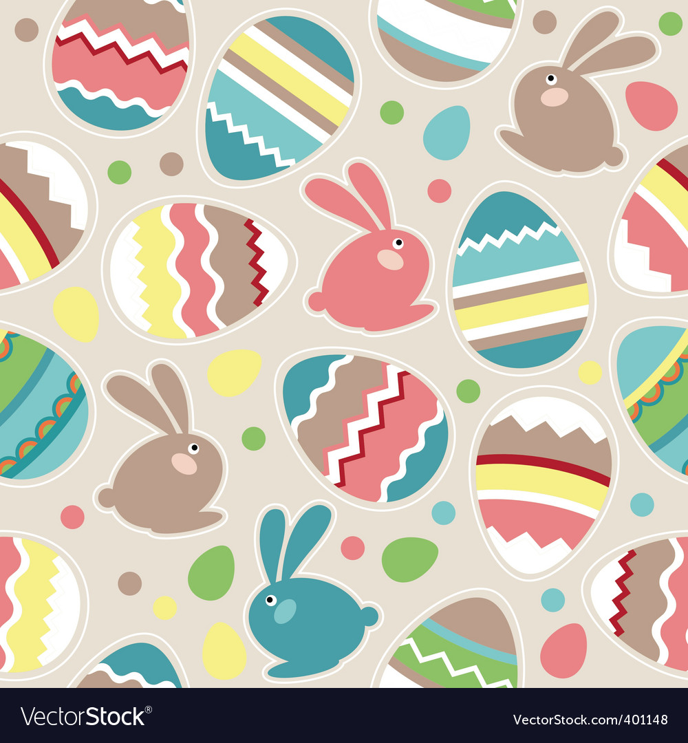 Seamless easter pattern with rabbits vector